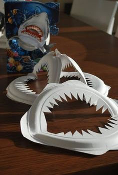 Crafts And Shark Party Ideas Sharks mouth paper plates! This would be a fun craft for a pirate or shark themed birthday party! This would be a fun craft for a pirate or shark themed birthday party! Kids Crafts, Projects For Kids, Art Projects, Arts And Crafts, Paper Crafts, Family Crafts, Halloween Paper Plate Crafts For Kids, Kids Diy, Creative Crafts