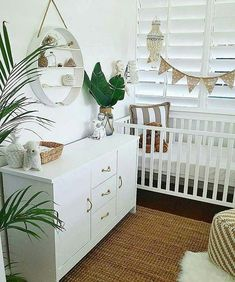 Love seeing the pops of greenery in this au natural nursery! via Here are 33 adorable nursery ideas for you! Super cute baby boy nursery room ideas - I LOVE a rustic nursery - for boys OR for girls! Baby Bedroom, Baby Boy Rooms, Baby Room Decor, Baby Boy Nurseries, Nursery Room, Girl Nursery, Girl Room, Boho Nursery, Cottage Nursery