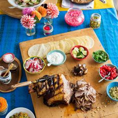 Serve tacos with a variety of condiments so guests can build their own flavors: http://www.bhg.com/party/birthday/themes/how-to-throw-a-casual-mexican-taco-party-like-a-chef/?socsrc=bhgpin042314tacobuffetspread&page=7
