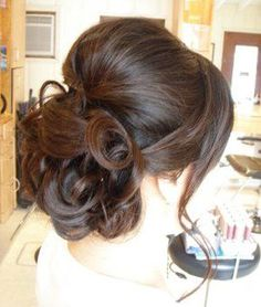 Love the design and the pushup on the top with some bangs off to the side. for bridesmaids