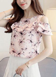 1107fe1a8a1 Blouses -  26.99 - Floral Casual Silk Round Neckline Sleeveless Blouses  (1645262857) Saia E