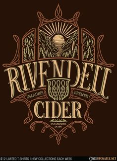 Rivendell Cider is available on t-shirts, hoodies, ornaments, and more until 2/8 at OnceUponaTee.net starting at $12! #LordOfTheRings #TheHobbit #Movies