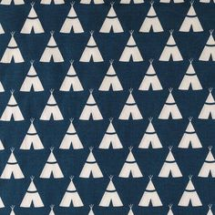 Fabric Blue Tee Pee Fabric by the Yard Quilt Fabric