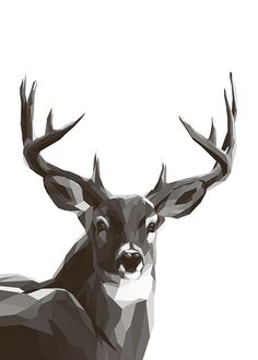 Polygon Deer BW, poster