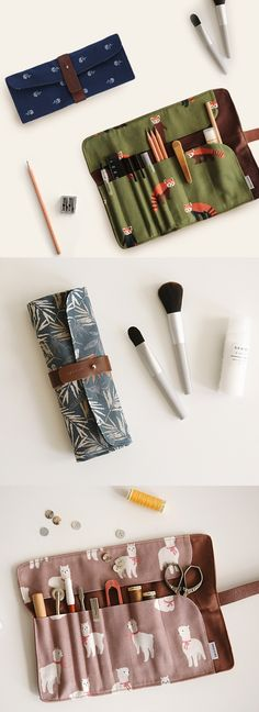 This lovely and versatile roll up pouch can be used for many different purposes! It can be your favorite pen case or your sister's makeup tool pouch or your mother's crafting pouch.