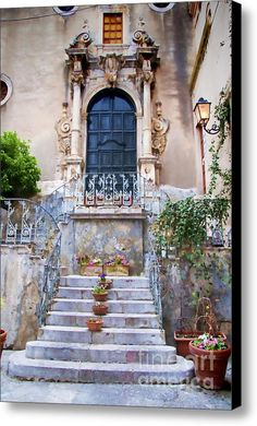 Old Steps In Taormina Sicily Canvas Print / Canvas Art By David Smith