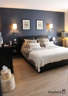 Elternzimmer The post Elternzimmer appeared first on Christin Freud. Blue Bedroom, Trendy Bedroom, Home Decor Bedroom, Modern Bedroom, Bedroom Wall, Master Bedroom, Bedroom Wood Floor, Bedroom Color Schemes, Bedroom Colors