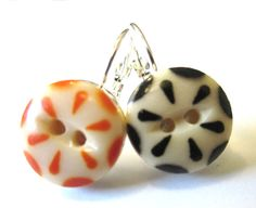 SAN FRANCISCO GIANTS antique button earrings 1800s by SewSandyShop, $20.00