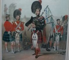 Painting of BW / 42nd Regt by Clayton (early 1850's) illustrating the kit of regimental pipers.