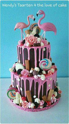 Flamingo ganache drip cake                                                                                                                                                                                 More