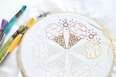 A ring of summer treats make this a free embroidery pattern that's as yummy to look at as it is relaxing to stitch.