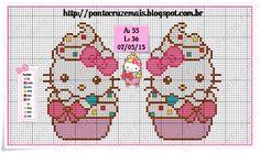 Kawaii Cross Stitch, Cross Stitch For Kids, Cross Stitch Baby, Cross Stitch Flowers, Hello Kitty Cupcakes, Cross Stitch Designs, Cross Stitch Patterns, Stitch Cartoon, Chart Design