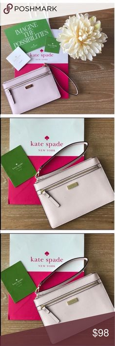KATE SPADE TINIE LAUREL BLUSH PINK WRISTLET Color: blush Pink. Condition: brand new. Kate Spade New York saffiano leather wristlet and gold toned hardware Front zip pocket Wristlet strap is partially detachable for easy stowing and has a drop of approx. 6.5 inches Lined interior features 4 card slots Approx. dimensions: 7.5 in (L) x 5 in (H) x 0.25 in (W). Fits Iphone 7, and Plus. Brand new! Includes warranty card. Includes shopping bag as picture.🚨No trades, No holds, No returns🚨 ✔️Ships…