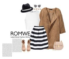 """ROMWE Striped Knee Length Skirt"" by poison-ivy-235 ❤ liked on Polyvore featuring H&M, Glamorous, Hat Attack, Chloé, Maison Margiela, Blanc & Eclare, StreetStyle, outfit and romwe"