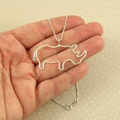 Rhino Necklace Sterling Silver Made To Order by Dragonfly65, $50.00 Rhino Art, Rhinoceros, Beast, Dreams, Sterling Silver, Trending Outfits, Unique Jewelry, Handmade Gifts, Beautiful