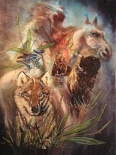 """Native Americans use the term """"medicine"""" when working with spirit animals and nature. According to Dr. Loretta Stanley, tribal member of the Eastern Band Cherokee Indians, """"Animal medicine refers to the healing aspects that a particular animal to our consciousness. This would mean anything that supports, strengthen, restores, empowers, or revives the spiritual body, as well as the physical body."""" *Artist: Elizabeth Silk"""