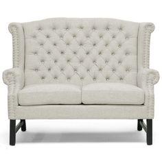 high back, linen tufted sofa with nailhead trim, khaki tufted sofa, sofa for breakfast nook  http://colomandbrit.com/furniture/Living-Room/Settees/Saxon-Tufted-Linen-Loveseat