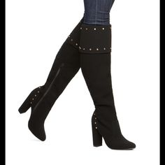 """NIB Black Over the Knee Boots This velvety classy boot features stud detailing around the cuff and heel. It fits true to size with a 4"""" heel. The shaft height is 17.5"""" and the calf circuumference is 16"""". Shoes Over the Knee Boots"""
