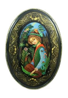 Palekh Russian Lacquer Box B3671 Girl with Pheasant   eBay
