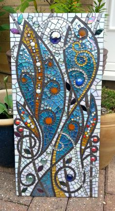'Symphony in Blues' by Muni's Mosaics Mosaic Garden Art, Mosaic Tile Art, Mosaic Artwork, Stone Mosaic, Mosaic Glass, Mosaic Art Projects, Mosaic Crafts, Glass Painting Designs, Deco Originale