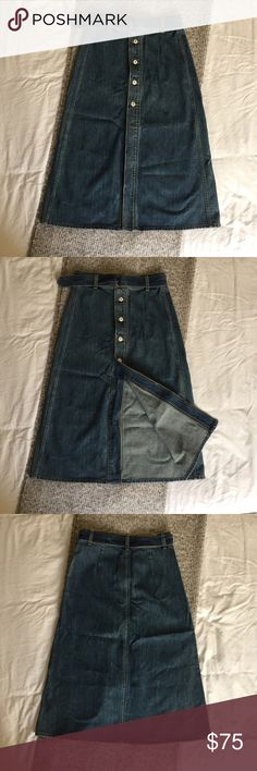 Tularosa Alexis Midi Skirt in Nashville High waisted denim skirt. Button front detail. High slit. Removable belt. Never worn. Great with mules or some fun sneakers. Denim sizing. Tularosa Skirts Midi