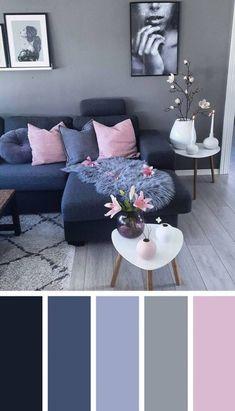 Dark Blue Pink Living Room Color Scheme Ideas - Zimmereinrichtung - Home flw Living Room Colour Design, Good Living Room Colors, Living Room Decor On A Budget, Living Room Color Schemes, Beautiful Living Rooms, Cozy Living Rooms, Living Room Grey, Home Living Room, Living Room Designs