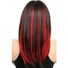 Black hair with red highlights Cute hair
