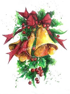 HANDMADE by Ki: świateczne dzwonki ... Beautiful Drawings, Rooster, Merry Christmas, Sketches, Pictures, Painting, Ideas, Manualidades, Merry Little Christmas