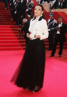 Zhang Ziyi in an Edwardian inspired jacket, blouse and skirt from the Spring 2007 collection. 2007 Cannes Film Festival.
