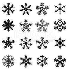 Black and White Snowflakes Set royalty-free stock vector art