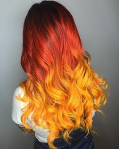 50 Dreamy Rainbow Balayage Ideas to Inspire Your Next Dye Job After salons introduced us to the balayage dye method, we never looked back. The technique — which consists of actually painting color onto hair — SEE DETAILS. Hair Dye Colors, Ombre Hair Color, Hair Color Balayage, Hair Colour, Fire Ombre Hair, Beautiful Hair Color, Cool Hair Color, Hair Color Dark, Extreme Hair Colors