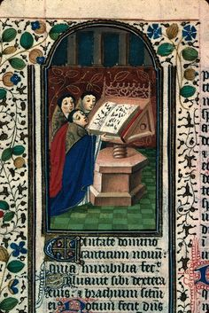 """""""Great depiction of priests singing from massive choir book: notation is so clear you could sing along (Mâcon Medieval Life, Medieval Art, France, 15th Century, Middle Ages, Priest, Musical, Celtic, Catholic"""
