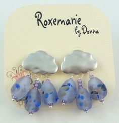 Lampwork Bead Earrings   'April Showers' by RoxeMarie on Etsy, $40.00
