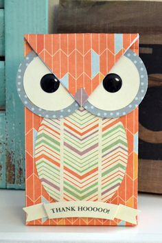 """We R Owl Gift Bag by Aly Dosdall - Stampin' Up circle punches (2"""" & 2-1/2""""), oval dies and their Gift Bag Punch Board make creating this owl gift bag a breeze."""