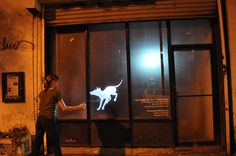 Sniff [openFrameworks]: Interactive projection of a dog that discerns and reacts to passers-by behaviour