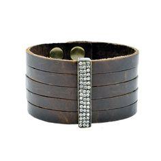 Single Bar Bracelet on Brown Leather by Rebel