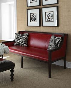 """""""Madline"""" Red Leather Sofa & Zebra-Print Pillows by Barclay Butera Lifestyle at Horchow."""