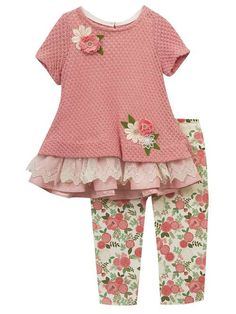Rare Editions Girls Knit Lace Top Flowers and Leggings Set Rose Ivory Baby Girl Dress Patterns, Baby Girl Dresses, Baby Dress, Baby Girls, Little Girl Outfits, Kids Outfits Girls, Toddler Outfits, Toddler Fashion, Kids Fashion