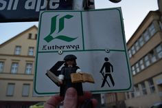 Little Luther took a walk on the Lutherweg (Luther Trail) to get to Mansfeld-Lutherstadt. The Luther Trail is more than 900 miles long and connects all LutherCities. For more information, please visit: http://www.visit-luther.com/nature/outdoor-activities/the-luther-trail.html