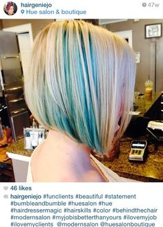 Hair by Hue Salon & Boutique / Blonde and blue peekaboo highlights
