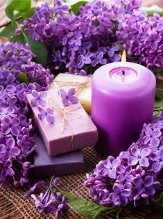 Purple Lilac Candles