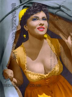 GINA LOLLOBRIGIDA TECHNICOLOR CONVERSION BY BEDAZZZLED FROM B/W PRINT ALL COLOR DESIGNS BY CHRIS CHARLES