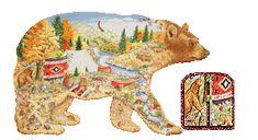 Alfabeto realista de oso en el bosque con río.
