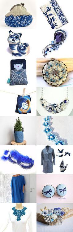 Beautiful Blue  by wonderful Kanzashi on Etsy--Pinned with TreasuryPin.com