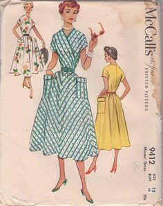 MOMSPatterns Vintage Sewing Patterns - McCall's 9412 Vintage 50's Sewing Pattern BRILLIANT Rockabilly Lucy Wrap Surplice Bodice Novelty Prints or Bias Stripes Full Skirt Garden Party Dress, LARGE Pockets Size 12