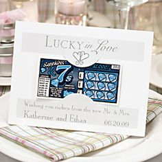 ~lottery ticket favor idea~  A super fun and creative gift for guests. Might choose to package the tickets with some candy or chocolates or something, just to make sure that even if people don't win they at least get something. Think advent calendar with chocolate behind.