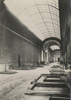 Louvre Museum, the Grande Galerie abandoned during World War 2.