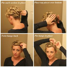 This would be the perfect hairdo for working, would be nice to keep it out of face and off neck yet still look cute :)  short hair updo