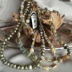 Zebra Jewelry - one of a kind, custom necklace Lovely, generous, three strand necklace of pearls, crystals and adventurine. Absolutely beautiful. An heirloom, classic piece. Perfect gift for a special someone..... Zebra Jewelry Jewelry Necklaces
