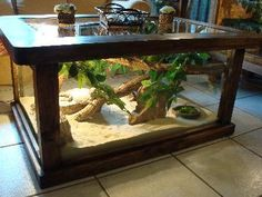 Terrarium Table - Just add lizard for entertainment. Kind of awesome...the little guy would always be front and center. <3